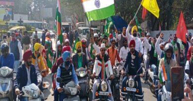 रांची में किसानों के समर्थन में निकाली गई मोटरसाइकिल रैली