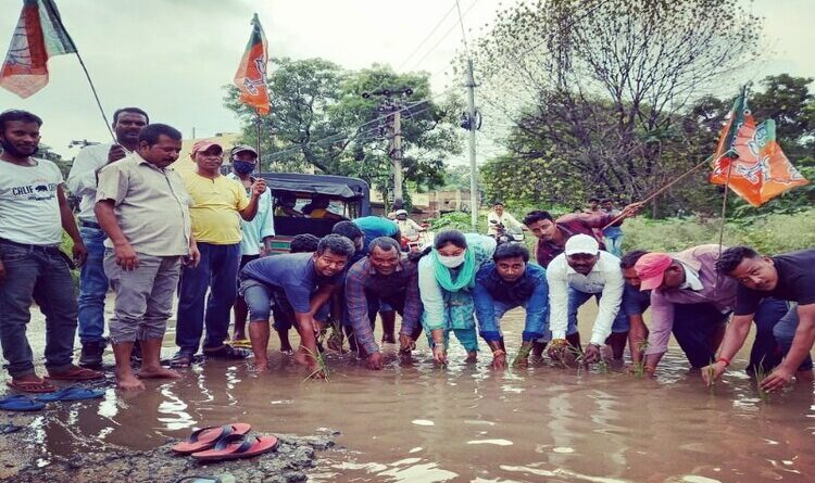 जर्जर सड़कों पर भाजयुमो कार्यकर्ताओं ने रोप दिया धान